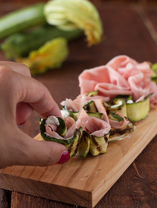 involtini di zucchine grigliate e mortadella