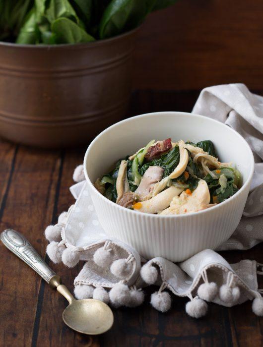 zuppa di pollo e bietole