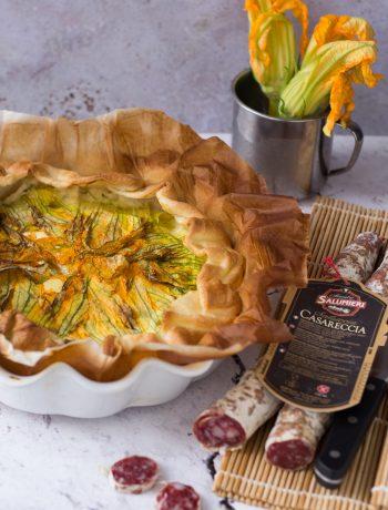 Torta salata i fiori di zucca e salsiccia Casareccia Clai 11