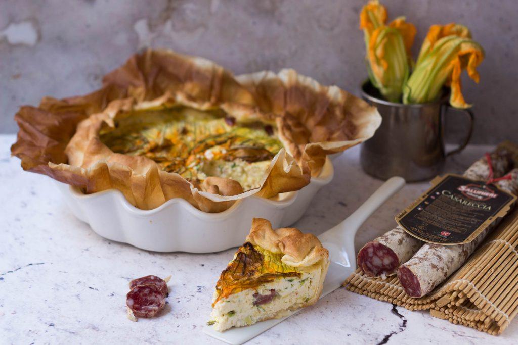Torta salata i fiori di zucca e salsiccia Casareccia Clai 16