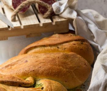 Treccia di pan brioche ai broccoli e salame Contadino Clai 5