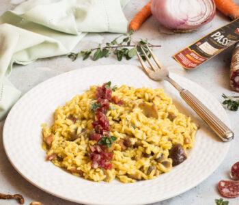 risotto ai funghi e Salsiccia Passita Clai
