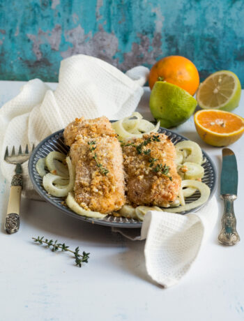 salmone in crosta di mandorle e agrumi